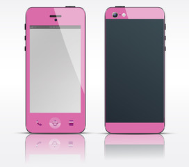 Vector cell, mobile or smart phone, smartphone pink