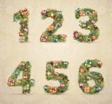 Fototapety Christmas tree font with baubles