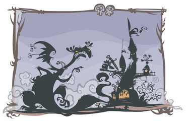 Fairy tale scene with cartoon silhouettes.