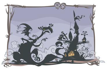 Fairy tale scene with cartoon silhouettes.