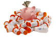 Piggy Bank With Money Atop Pile of Pill Bottles