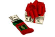 Money in Christmas Stocking and Present Made of Money