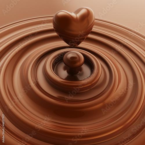 Fototapety, obrazy : Heart symbol made of liquid chocolate
