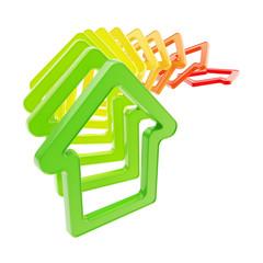 Queue line of house emblems falling down