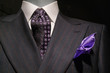 Striped Jacket, Patterned Tie and Purple Handkerchief (Horizonta