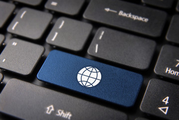 Internet global business concept keyboard key