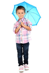 beautiful little girl with umbrella isolated on white
