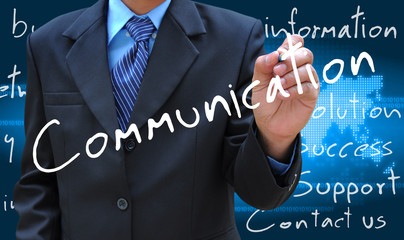 businessman hand writing communication