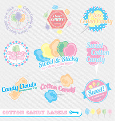 Vector Set: Vintage Cotton Candy Labels and Icons