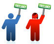 male and female freelancer signs
