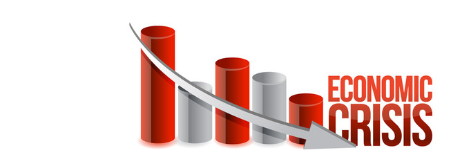 economic crisis graph illustration design