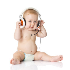 baby with headphone. young DJ