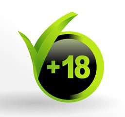 icône plus de 18 ans sur bouton vert et noir