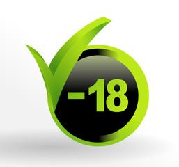 icône moins de 18 ans sur bouton vert et noir