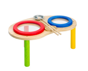 Colorful wooden toy drums for children