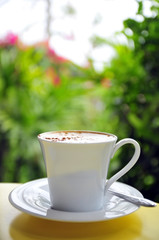 White cup of  Cappuccino latte coffee