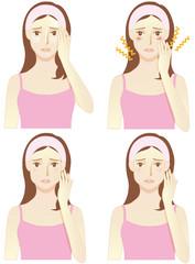 肌トラブル(オイリー肌/皮脂てかり・乾燥肌・たるみ・むくみ)