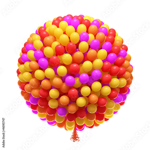 Big bunch of party balloons. Sphere shaped