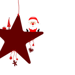 Sitting Santa On Red Star & Symbols White