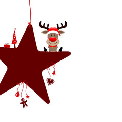 Sitting Rudolph On Red Star & Symbols White