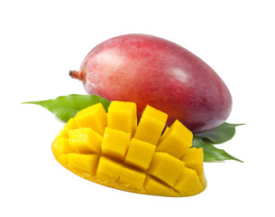Mango fruit with leaves on white background
