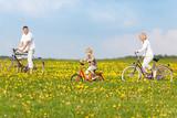 familie fährt mit fahrrädern durch die natur