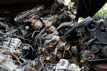 scrap metal from car engine