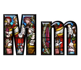 Stained Glass letter M in upper and lower case