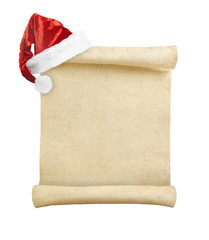 Blank christmas scroll witch Santa hat