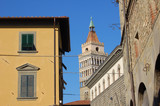 Pistoia central street and bell tower of Piazza del Duomo