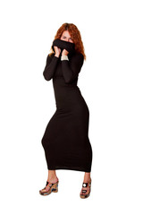 beautiful red-haired woman in black dress