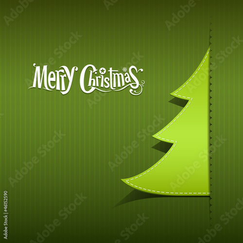 Merry Christmas ribbon paper green tree design