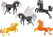 four horses and Pegasus