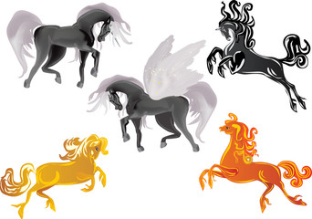 four horses and Pegasus