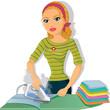 Girl ironing blonde