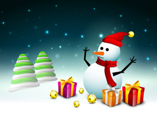 Happy snowman wearing Santa hat and scarf with gift boxes, eveni