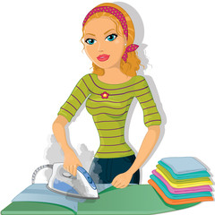 Girl ironing blonde