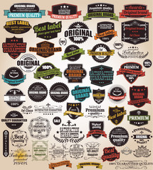 Set of vintage retro labels, stamps, ribbons, vector