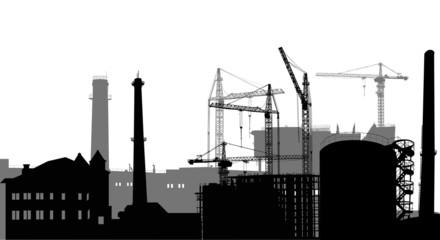 isolated industrial building costructions and cranes