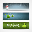 Merry Christmas banners set design, vector