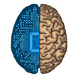 Artificial intelligence, CPU inside human brain.