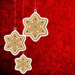 Christmas background with gingerbread stars.