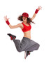 woman dancer jumping and yelling