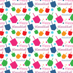Hanukkah colorful background with menorah and dreidel
