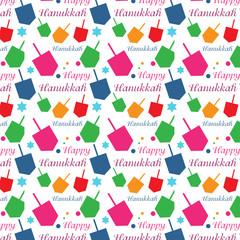 Hanukkah colorful background with menorah and dreidel