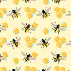 Vector pattern with bees and honey combs