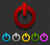 colorful power buttons set