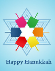 Hanukkah background with menorah and dreidel