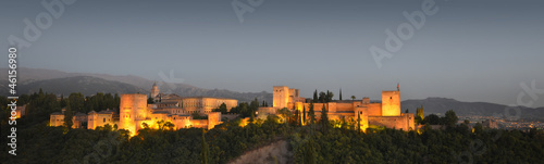 Panoramic view of the Alhambra at dusk