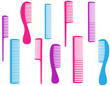 barbershop set of colorful comb for body care poster